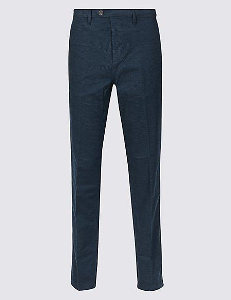 Cotton Rich Slim Fit Flat Front Trousers