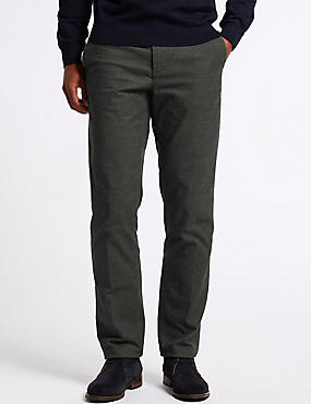 Cotton Rich Slim Fit Flat Front Trousers
