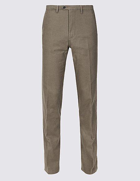 Slim Fit Cotton Rich Flat Front Trousers
