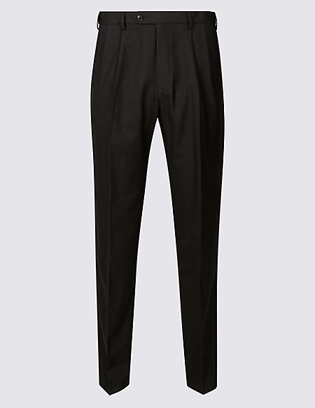 Regular Fit Wool Blend Twin Pleated Trousers
