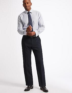 Shorter Length Regular Fit Wool Blend Trousers