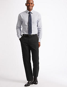 Shorter Length Regular Fit Wool Blend Trousers