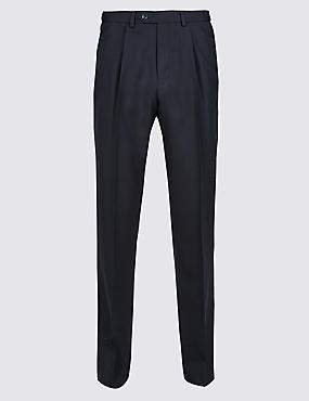 Tailored Wool Blend Single Pleated Trousers