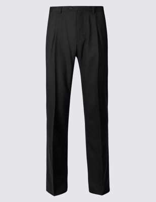 Regular Fit Wool Rich Single Pleated Trousers by Marks & Spencer