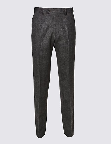 Wool Blend Regular Fit Flat Front Trousers