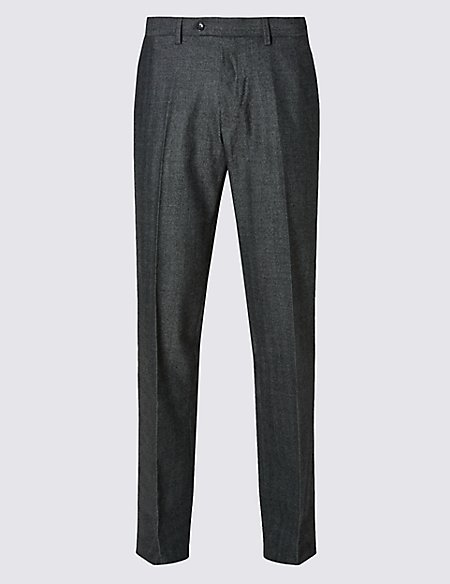Tailored Fit Wool Rich Flat Front Trousers