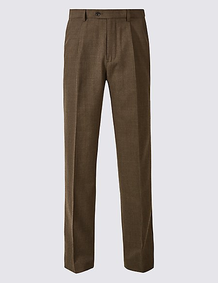 Regular Fit Wool Blend Single Pleated Trousers