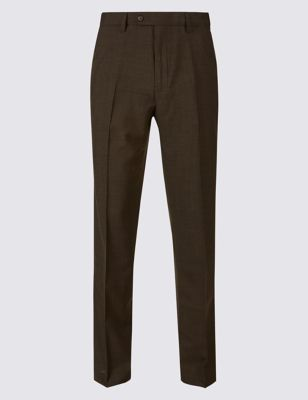 Tailored Fit Wool Blend Flat Front Trousers by Marks & Spencer