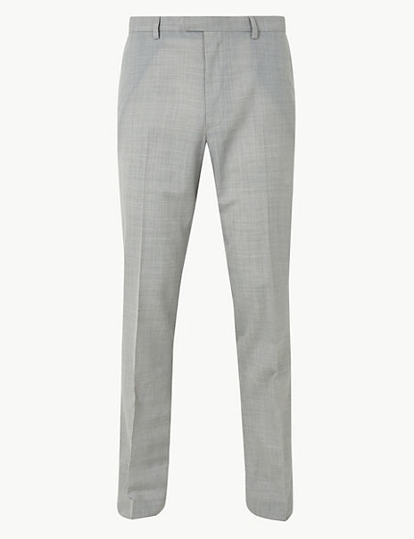 Slim Fit Wool Blend Flat Front Trousers