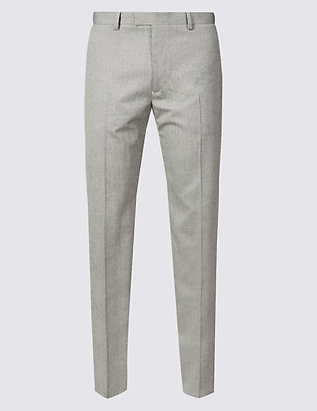 Tailored Fit Herringbone Flat Front Trousers