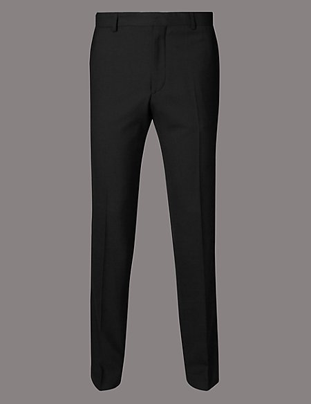 Slim Fit Twill Trousers with Wool