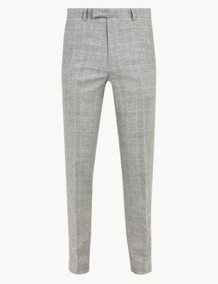 fb016c0acac3 Slim Fit Linen Blend Flat Front Trousers £29.50