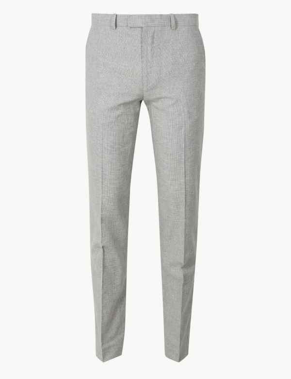 f960525c6aa60 Slim Fit Linen Blend Flat Front Trousers
