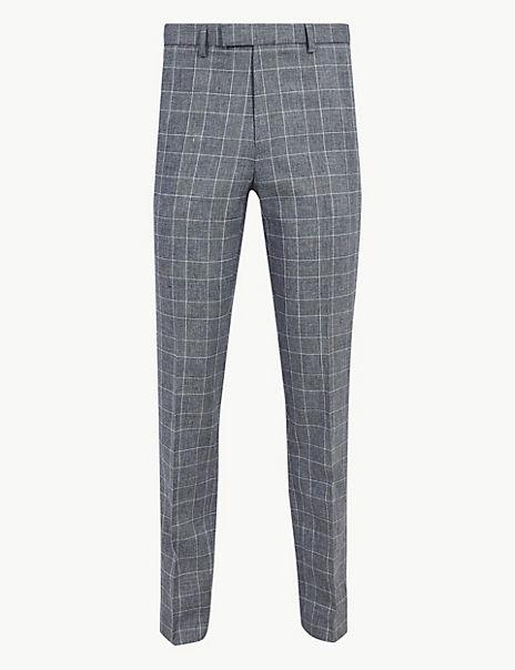 Slim Fit Cotton Blend Flat Front Trousers