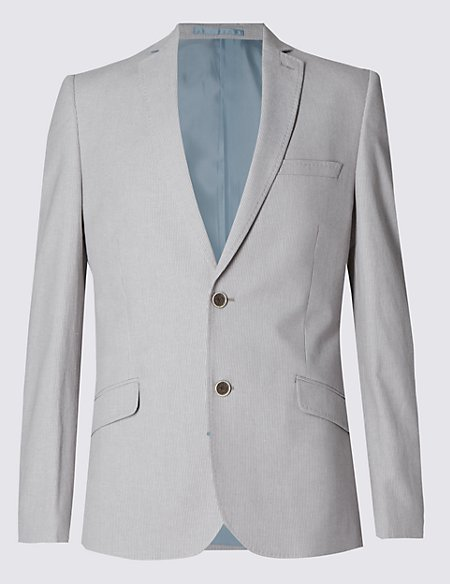 Cotton Rich Slim Fit Striped 2 Button Jacket with Linen