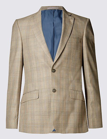 Slim Fit 2 Button Prince of Wales Check Jacket