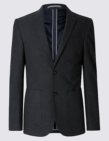 Pure Cotton Tailored Fit 2 Button Flannel Jacket