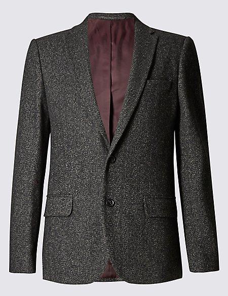 Slim Fit Textured 2 Button Jacket