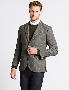 Wool Blend Single Breasted Jacket