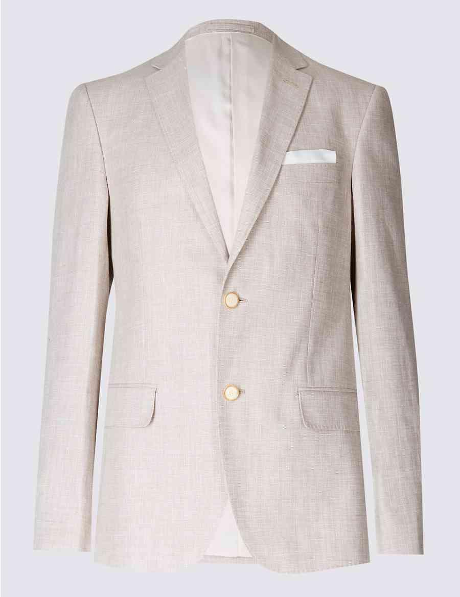 a8312a58d309e Linen Rich Textured Tailored Fit Jacket | M&S Collection | M&S