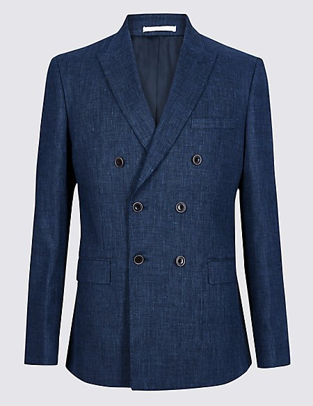 Linen Miracle Tailored Fit Textured Jacket