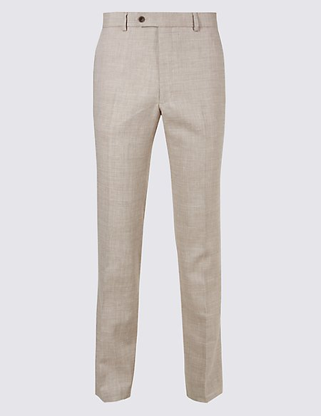 Big & Tall Linen Miracle Flat Front Trousers