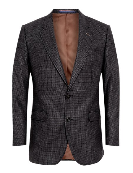 Wool Rich 2 Button Mini Checked Jacket