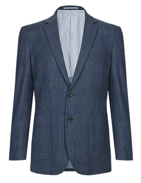 Pure Wool Slim Fit 2 Button Prince of Wales Check Jacket