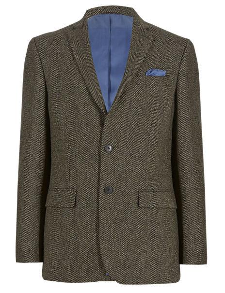 Wool Blend Tailored Fit 2 Button Herringbone Jacket