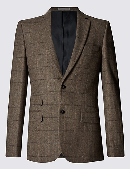 Slim Fit Large Check 2 Button Jacket with Wool