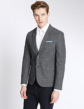 Single Breasted 2 Button Jacket with Linen