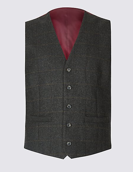 Brown Wool Rich Tailored Fit Checked Waistcoat