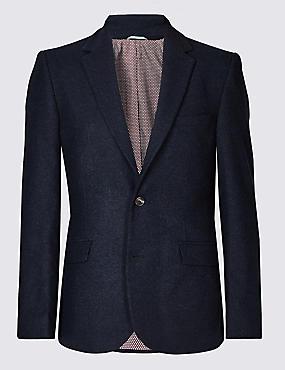 Wool Blend Herringbone Tailored Fit Jacket