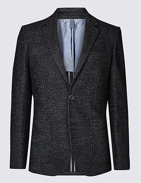 Charcoal Herringbone Tailored Fit Jacket