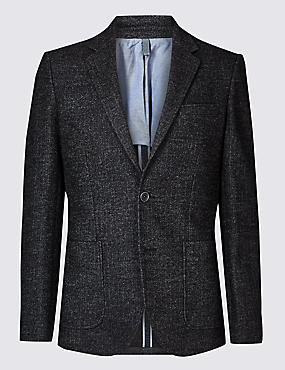 Charcoal Herringbone Tailored Fit Jacket
