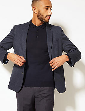 Cotton Blend Indigo Textured Slim Fit Jacket