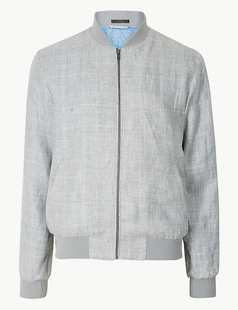 Pure Linen Checked Bomber Jacket