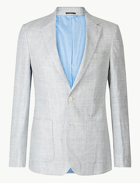 Linen Grey Checked Slim Fit Jacket