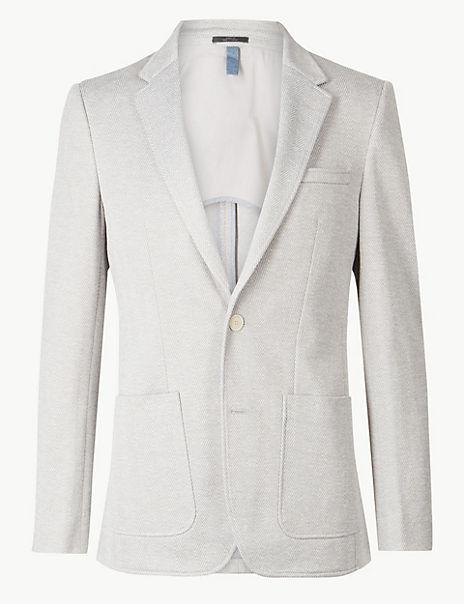 Cotton Blend Herringbone Slim Fit Jacket