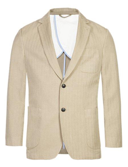 Herringbone Striped Slim Fit Jacket with Linen