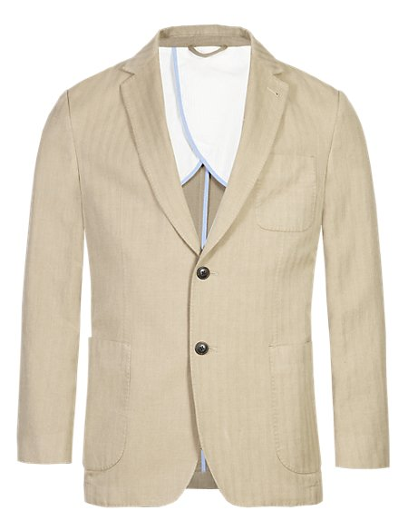 Notch Lapel 2 Button Herringbone Jacket with Linen