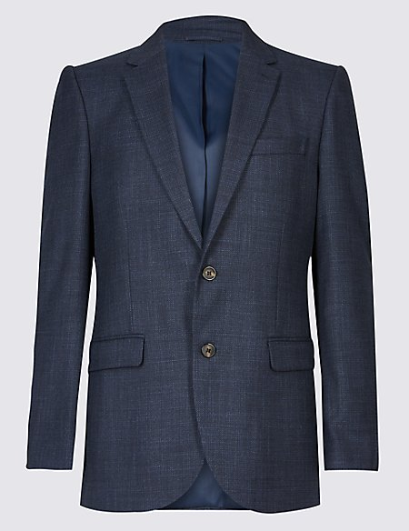 Textured 2 Button Regular Fit Jacket