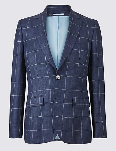 Pure Linen Checked 2 Button Jacket