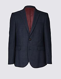 Blue Tailored Fit Checked Jacket
