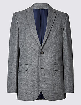 Grey Checked Tailored Fit Jacket, LIGHT GREY, catlanding
