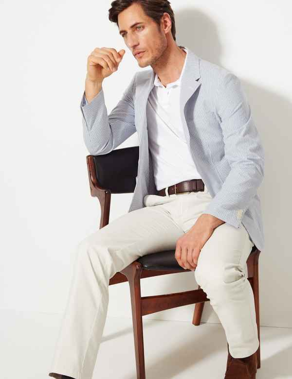 865752a96c4 Striped Tailored Fit Cotton Jacket