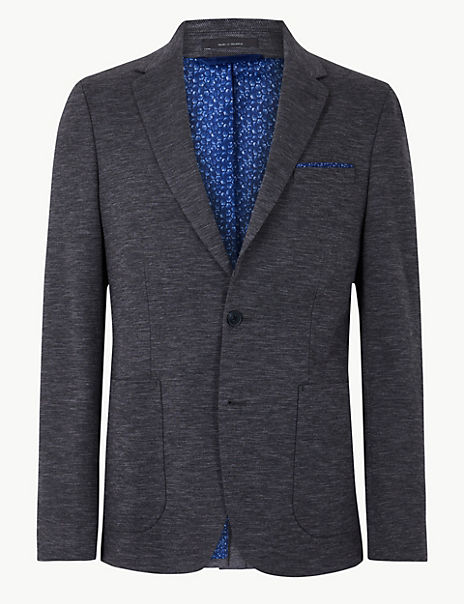 Cotton Blend Textured Slim Fit Jacket