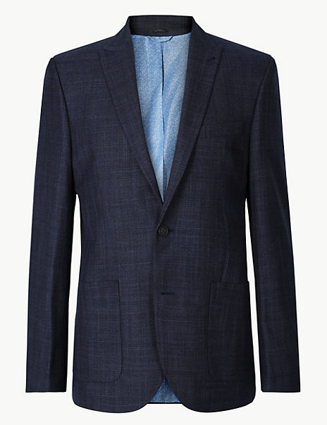 Navy Checked Tailored Fit Jacket