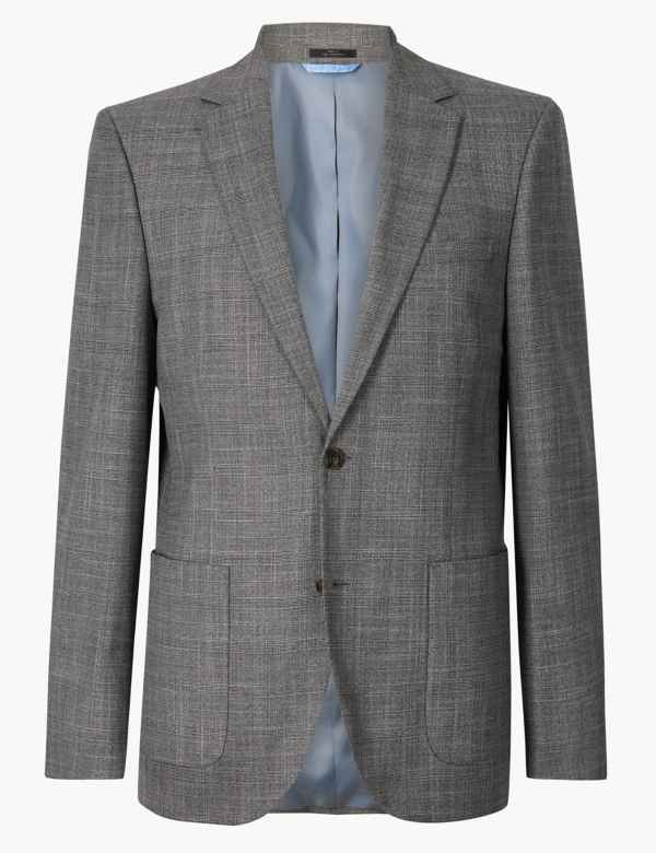 0f6bbaa45a568 Grey Checked Tailored Fit Jacket