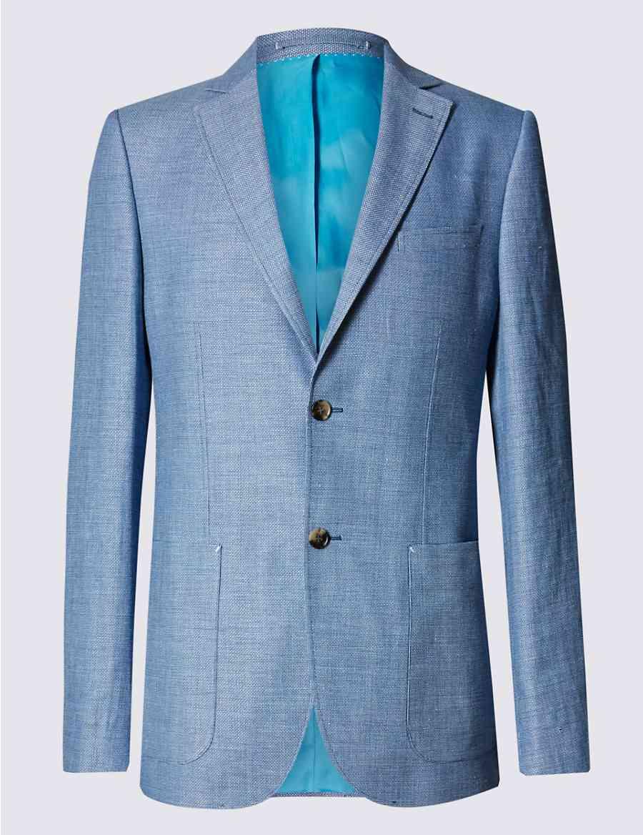 f3811a8ea3c Linen Blend 2 Button Blazer with Wool